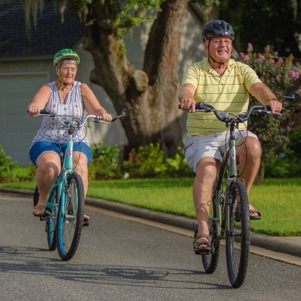 Dan Champaigne and his wife riding bikes